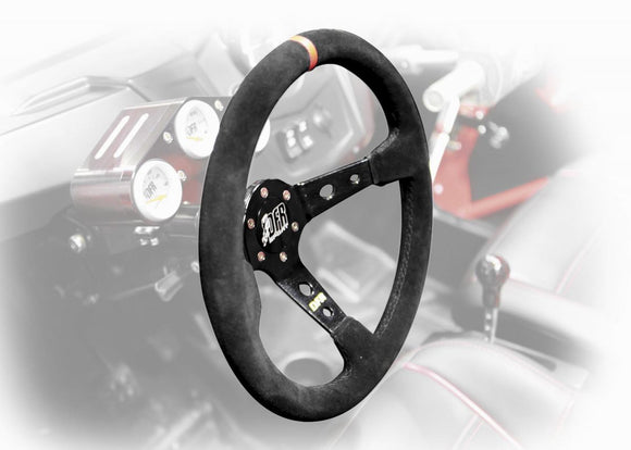 Dragonfire Round Steering Wheel (6-Bolt) with 2.5in. Offset - Suede/Black - Motoboats us
