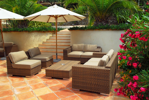 Weaved patio couch set