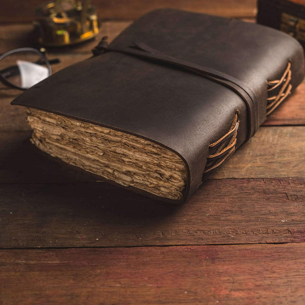 Charcoal Brown Leather Journal - 9 by 6 Inches - 3 Pack