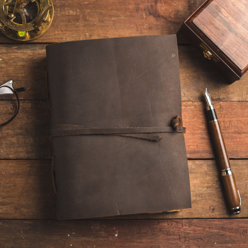 Vintage Leather Journal - Deckle Edged Antique Journal
