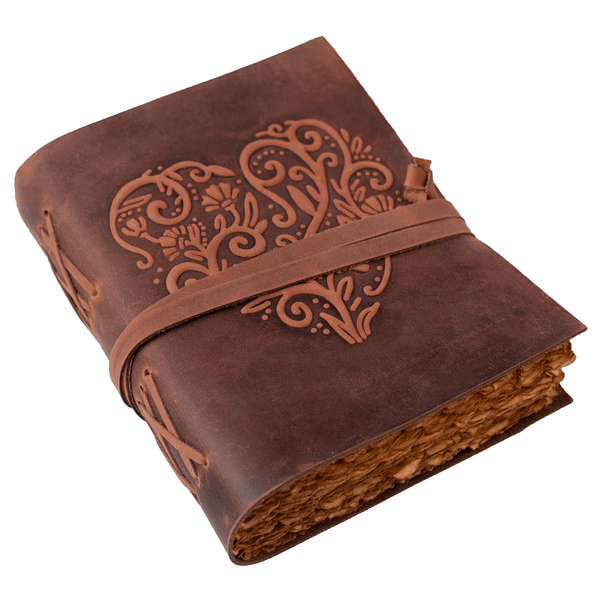 Leather Journal for Women - Vintage Leather Bound Journal - Antique Paper - Beautiful Embossed Heart Leather Sketchbook-