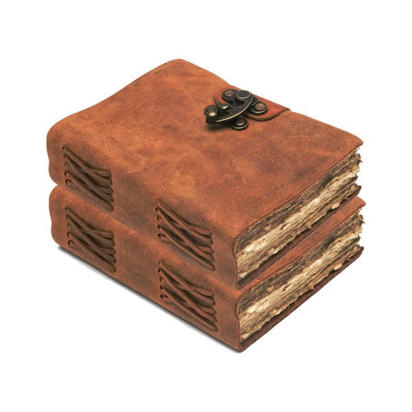 Lock Vintage Leather Journal - 7 by 5 Inches - 2 Pack