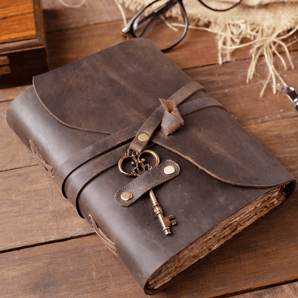 Vintage Leather Journal with Key - 9 by 6 Inches