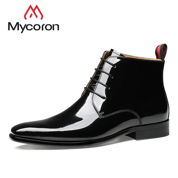 MYCORON 2019 Comfortable Mens Dress Shoes Genuine Leather Luxury Brand Top Fashion Ankle Boots Men Shoes Bota Masculina Couro