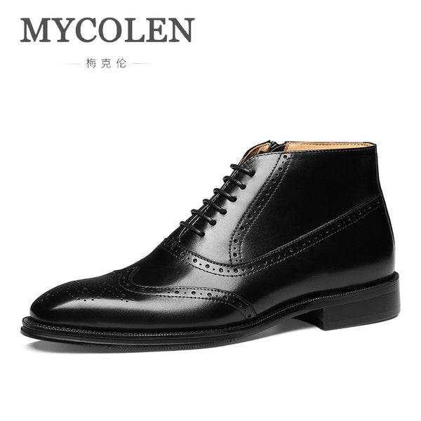 MYCOLEN Winter New Ankle Chelsea Boots Men Genuine Leather Formal Dress Boots Lace-Up Men Snow Boots Tenis Masculino Adulto