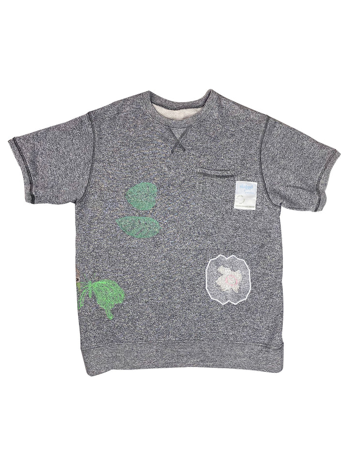 butterfly, monstera & lace patch | french terry tee | L