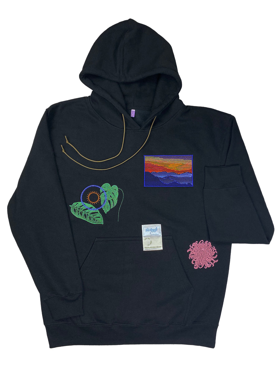 sunset mountains, monstera & chrysanthemum | fleece hoodie | L
