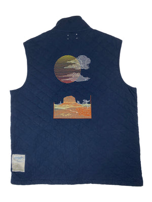 blue cotton vest | L