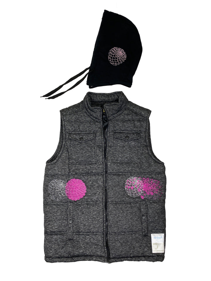charcoal heather puffer vest | L