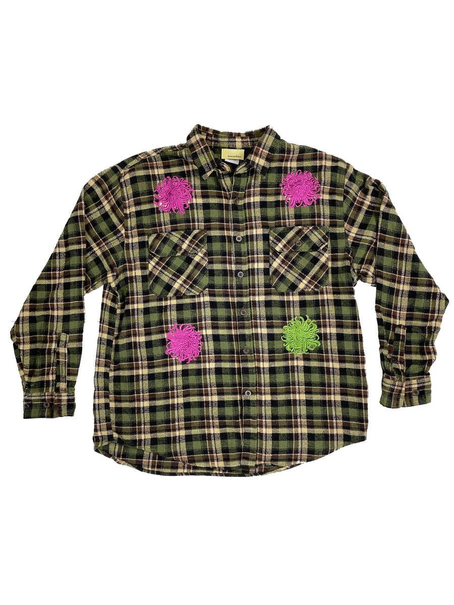 green & fuchsia chrysanthemum flannel | XL