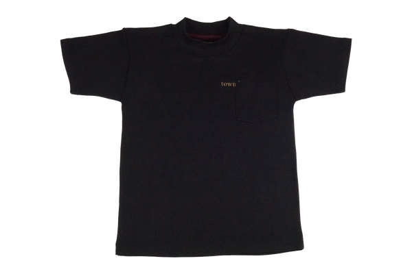 hidden logo mock neck tee - black