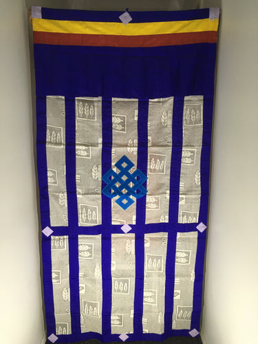 Blue Endless Knot lacy door curtain