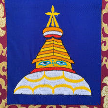 Load image into Gallery viewer, Wall Hanging: Buddha's Wisdom Eyes & Stupa blue close up stupa