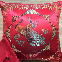 Load image into Gallery viewer, Cushion red with peacocks imitation silk front