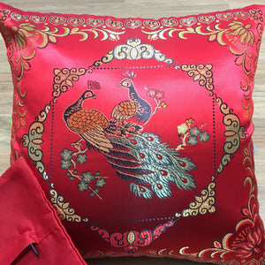 Cushion red with peacocks imitation silk front