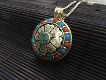 Load image into Gallery viewer, Silver flower round pendant with red coral & turquoise
