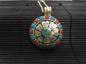 Silver Flower round pendant with Red Coral & Turquoise