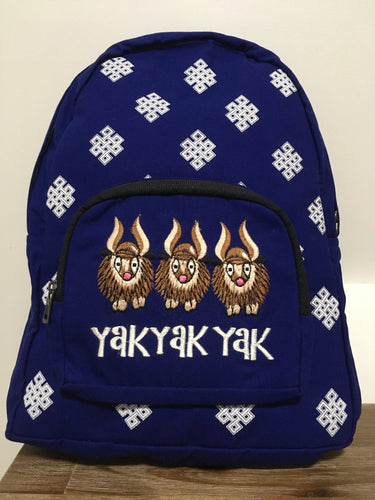 Three YAK & Endless Knot Print Blue Backpack front