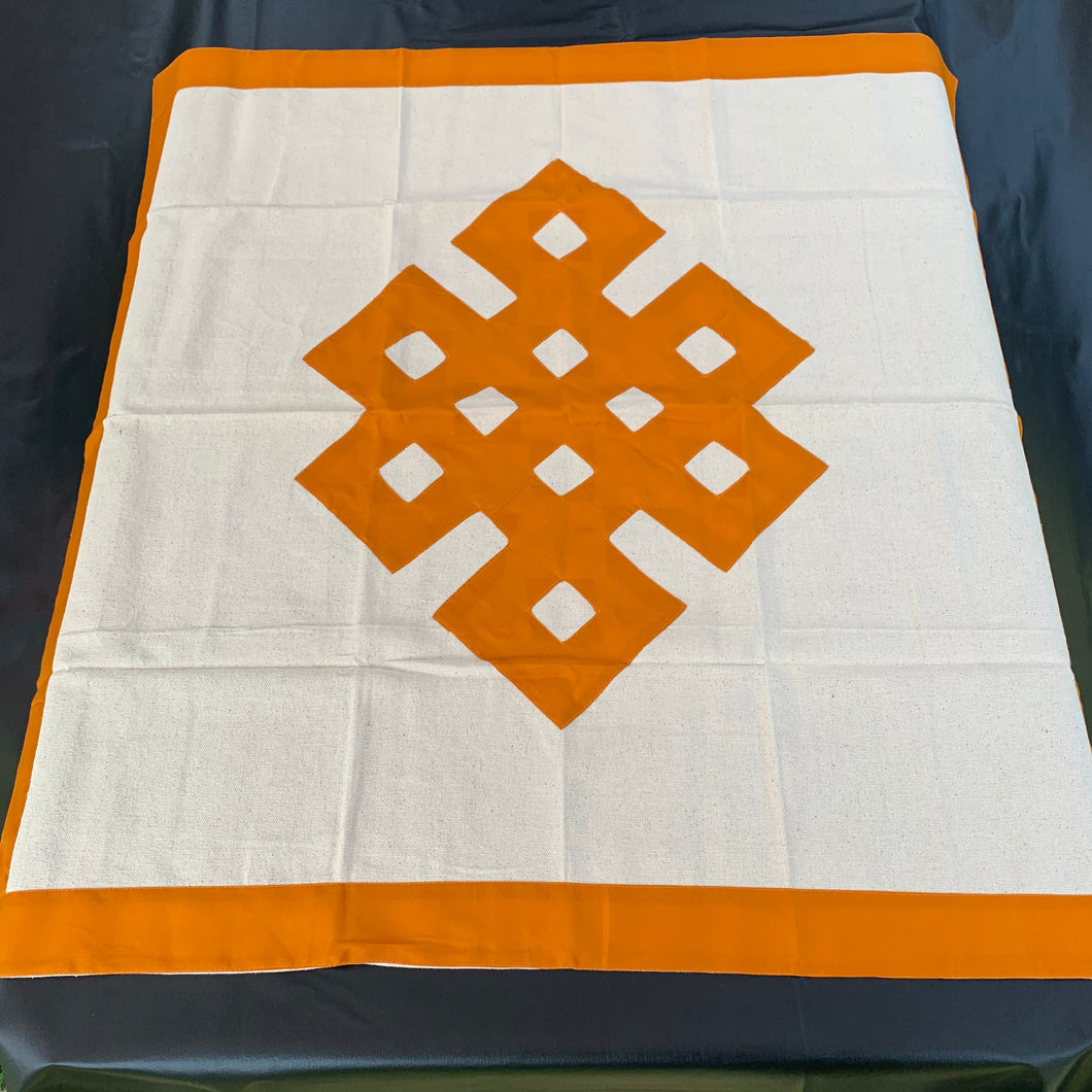 table cloth square endless knot dark yellow front