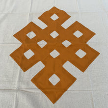 Load image into Gallery viewer, table cloth square endless knot dark yellow close up