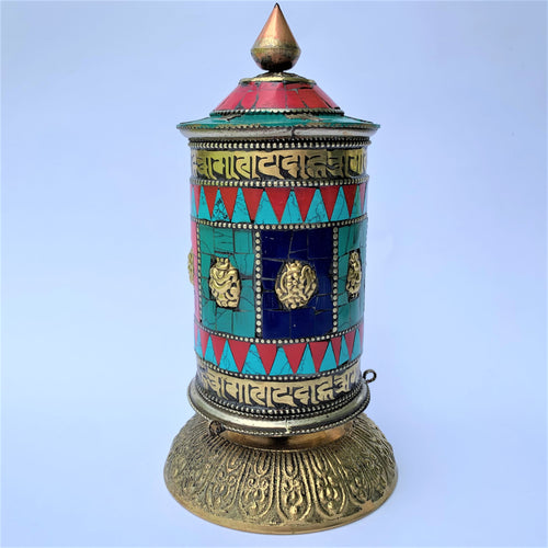 Standing Prayer Wheel - Stone Patched - Large