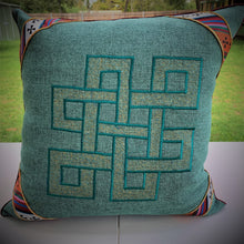 Load image into Gallery viewer, Cushion cover jute endless knot design large front