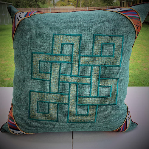 Cushion cover jute endless knot design large front