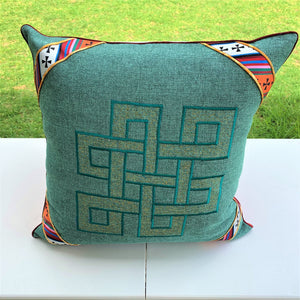 Cushion cover jute endless knot design large top