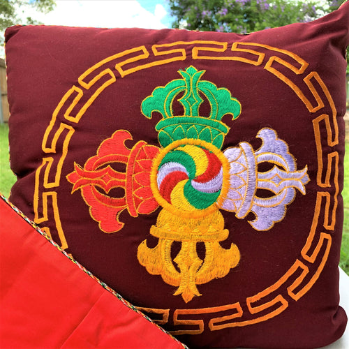 cushion cover maroon double vajra front