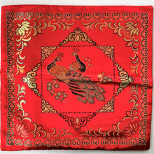 Load image into Gallery viewer, Cushion red with peacocks imitation silk front without cushion