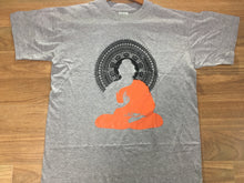 Load image into Gallery viewer, Cotton Short Sleeve T-Shirt Grey Meditating Buddha Print
