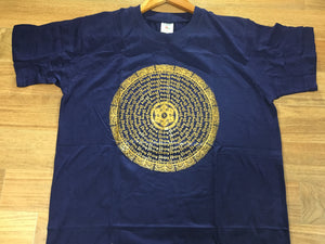 Cotton Short Sleeve T-shirt Mantra Mandala print dark blue