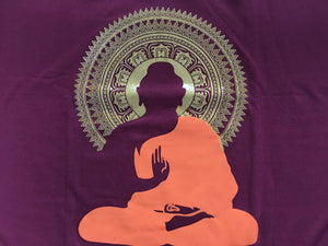 Cotton T-Shirt Meditating Buddha Print  Maroon Colour  X-Large Size