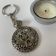Load image into Gallery viewer, Key Chains Round Eight Auspicious Symbols Key Chain scale front