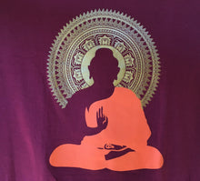 Load image into Gallery viewer, Meditating Buddha Print Maroon T-Shirt Close Up