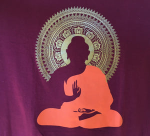 Meditating Buddha Print Maroon T-Shirt Close Up