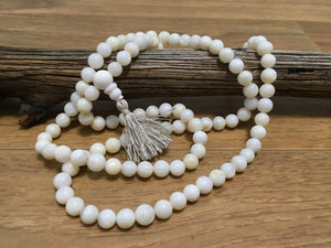 White Naga Shell 108 Prayer Bead Mala