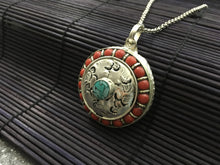 Load image into Gallery viewer, Round silver pendant with red coral & turquoise