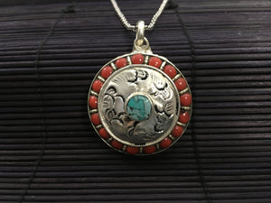 Round silver pendant with red coral & turquoise