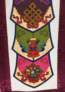 Plum Brocade Eight Auspicious Symbol Wall Hanging bottom close up