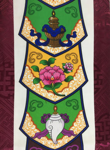 Plum Brocade Eight Auspicious Symbol Wall Hanging mid close up
