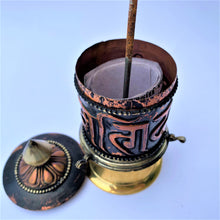 Load image into Gallery viewer, prayer wheel standing sanskrit mani open