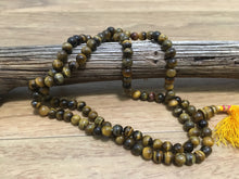Load image into Gallery viewer, prayer beads mala tiger eye stone 108 beads on wood
