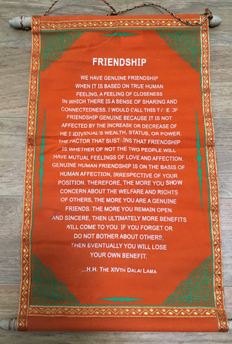 Wall hanging Dalai Lama Friendship Quote with Orange background