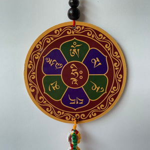 Four-Armed Chenrezig Print Wooden Hanger with Mani Mantra back