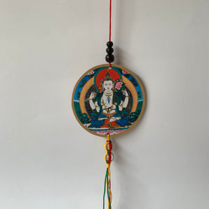 Four-Armed Chenrezig Print Wooden Hanger with Mani Mantra