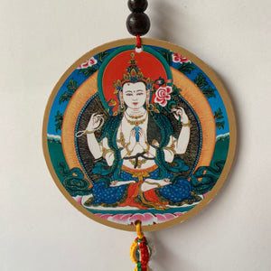 Four-Armed Chenrezig Print Wooden Hanger with Mani Mantra front