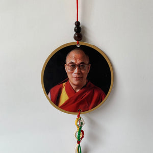 Dalai Lama Print Wood Hanger with Mani Mantra