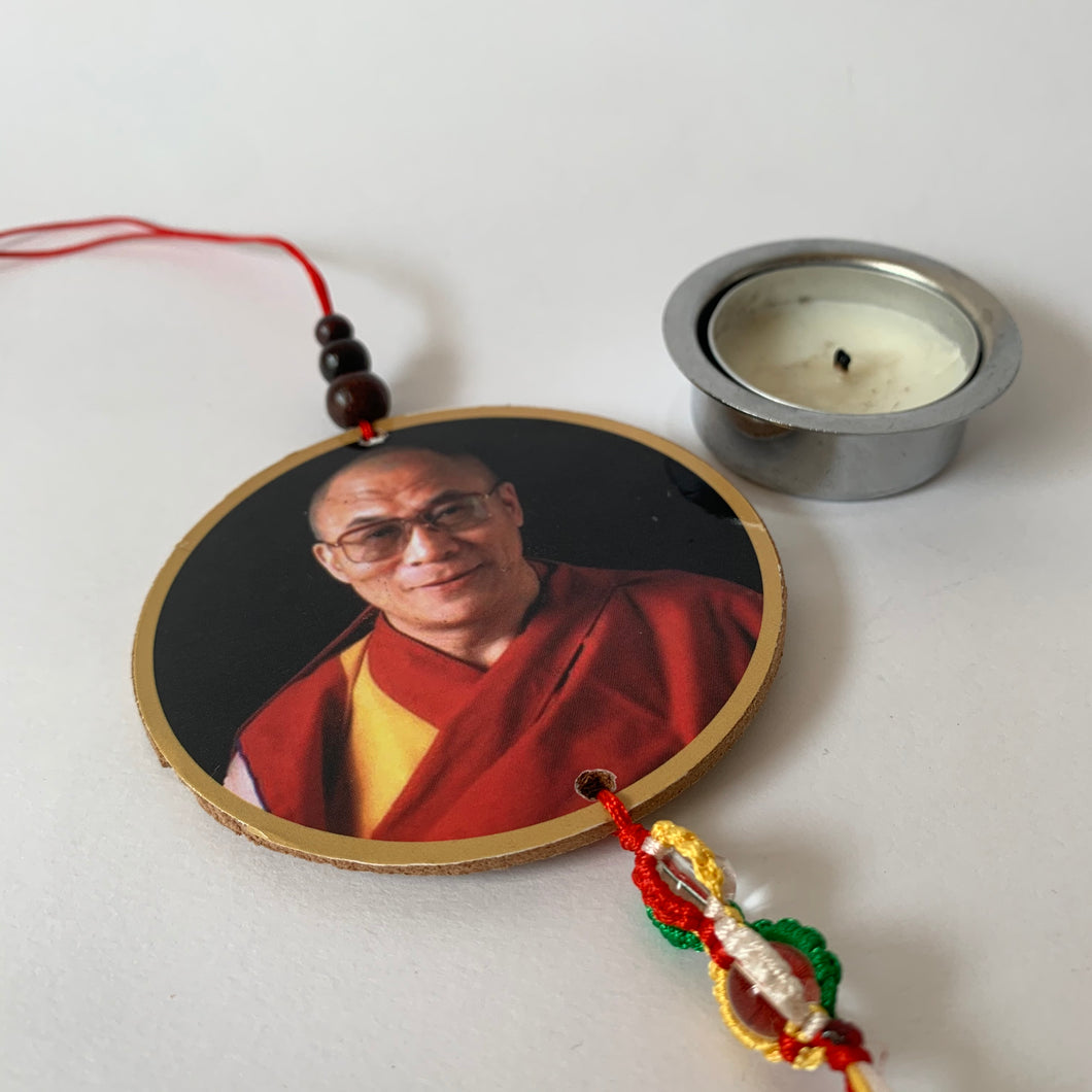 Hanger Dalai Lama Print Wood Hanger with Mani Mantra scale