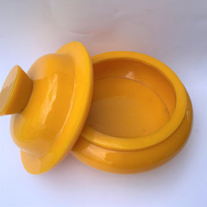 Resin bowl yellow with fitting lid large lid